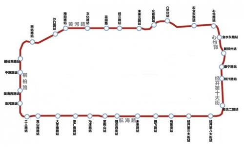 郑州地铁5号线示意图:途径7个区设32座车站 征迁启动